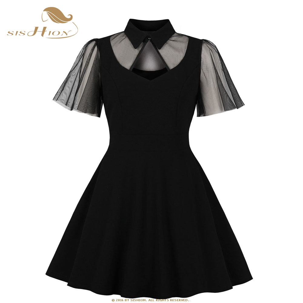 Buy Cheap Sishion Gothic Women Sexy Dress Vd1041 Short Sleeve Summer Dress Little Mini Vintage Black Dresses 2019 Robe Vintage And To Have A Long Life. Women's Clothing