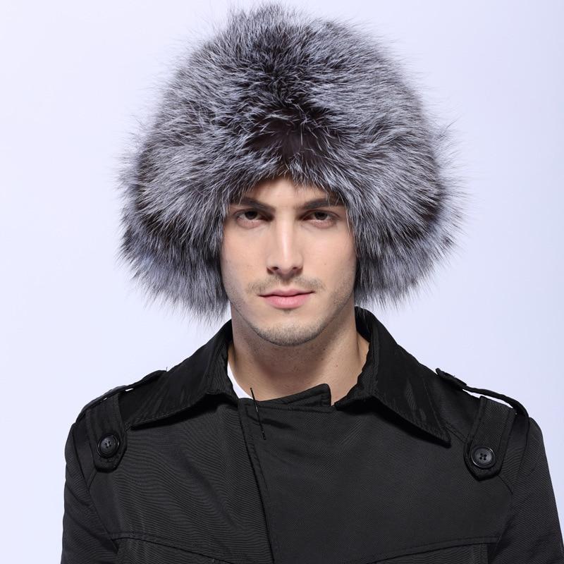 e6d4bc2cdaca3 Bomber Hats Men Real Fox Raccoon Fur Bombers Hat Solid Russian Winter  Trapper Hats Caps Genuine Natural Fox Fur Bombers