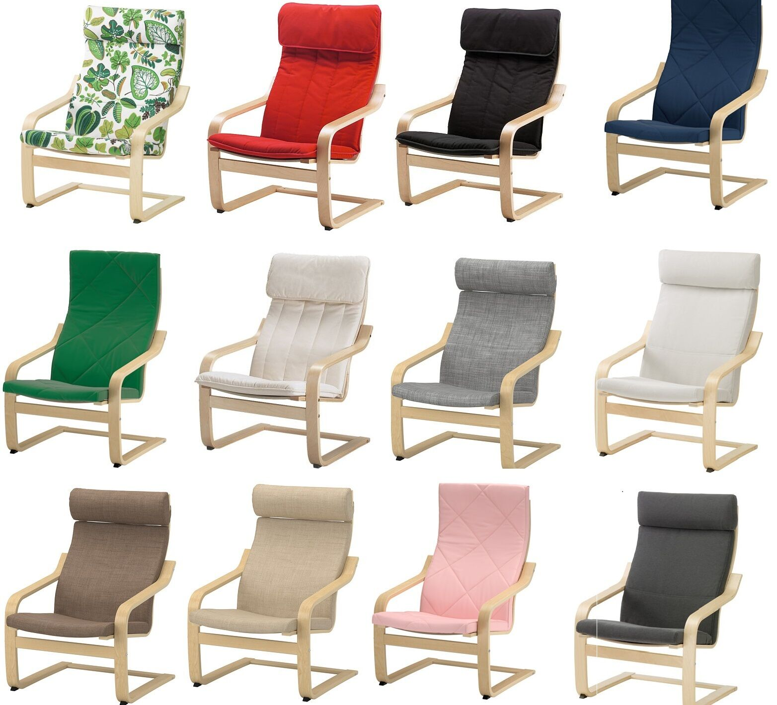 IKEA POANG Armchair Slipcover Replacement Cushion /& Slip Cover,22 Colours,New
